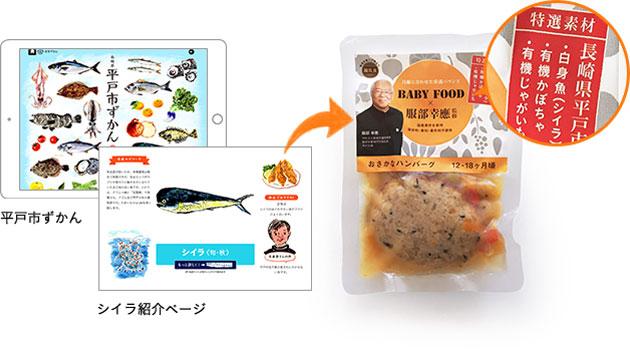 冷凍離乳食「おさかなハンバーグ」コーディネート及びパッケージデザイン